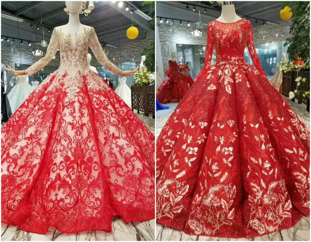 2016 Red Lace Chiffon Muslim Wedding Dresses With Hijab Bowknot