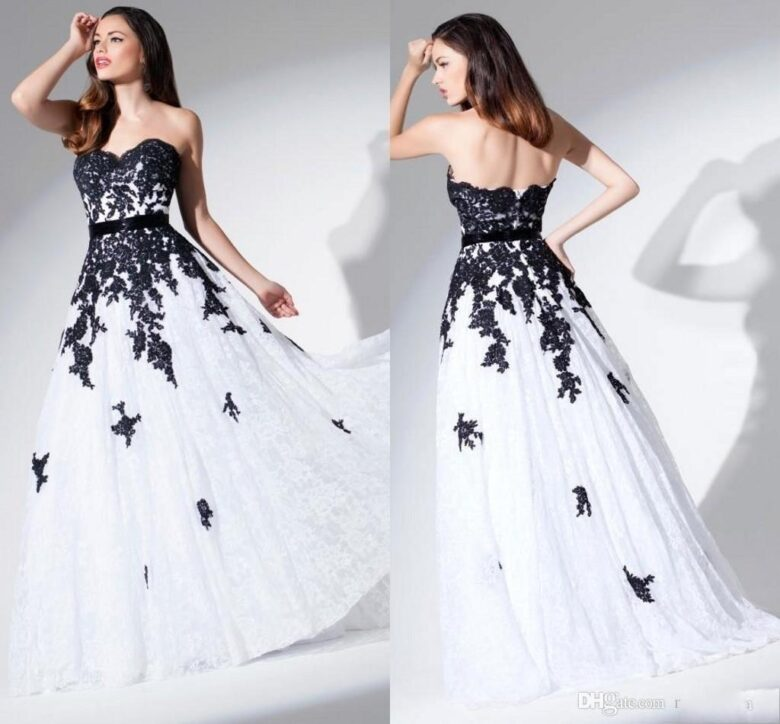 White With Black Wedding Gowns: 15 Best Black And White Wedding Dresses In 2019